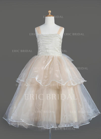 Flattering Square Neckline A-Line/Princess Flower Girl Dresses Tea-length Organza Sleeveless (010014606)