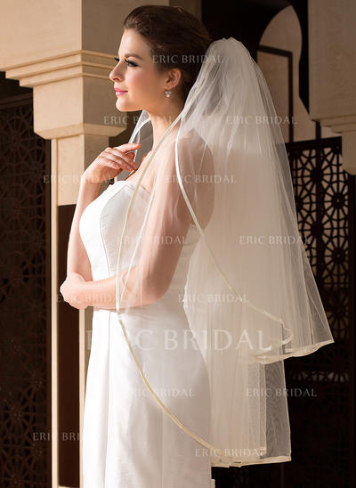 Fingertip Bridal Veils Tulle Two-tier Oval With Ribbon Edge Wedding Veils (006151503)