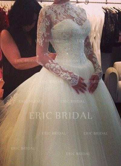 Ball-Gown Tulle Long Sleeves High Neck Cathedral Train Wedding Dresses (002147856)