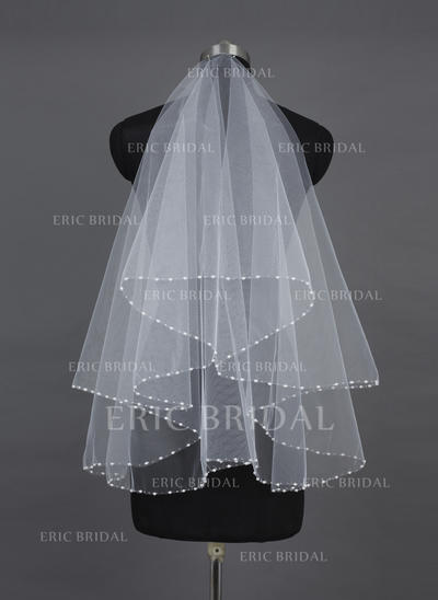 Fingertip Bridal Veils Tulle One-tier Classic With Pearl Trim Edge Wedding Veils (006151557)