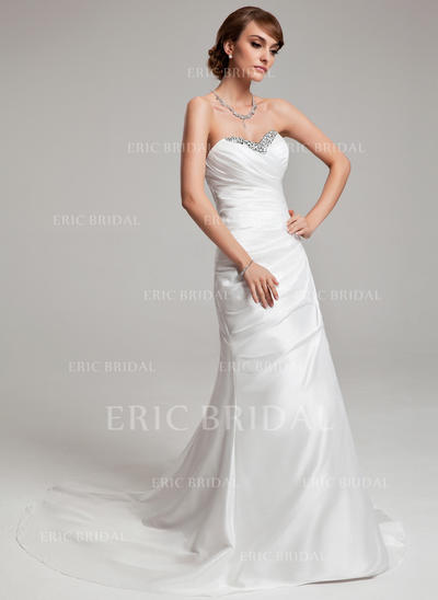 A-Line/Princess Sweetheart Court Train Wedding Dresses With Ruffle Beading Sequins (002001703)