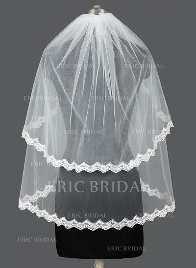 Elbow Bridal Veils Tulle Two-tier Oval With Lace Applique Edge Wedding Veils (006151041)