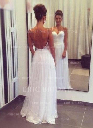A-Line/Princess Sweetheart Sweep Train Wedding Dresses With Lace (002147824)