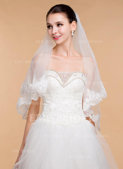 Elbow Bridal Veils Tulle One-tier Classic With Lace Applique Edge Wedding Veils (006152009)