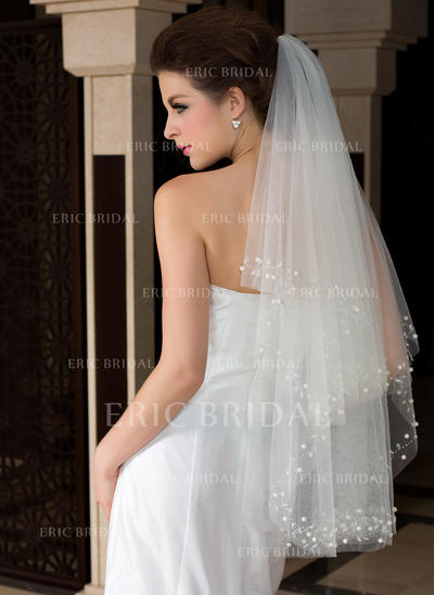 Fingertip Bridal Veils Tulle Two-tier Classic With Cut Edge Wedding Veils (006151475)