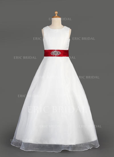 Modern Scoop Neck A-Line/Princess Flower Girl Dresses Floor-length Organza/Satin Sleeveless (010014643)