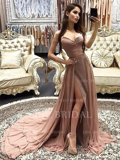A-Line/Princess Sweetheart Court Train Prom Dresses With Cascading Ruffles (018211721)