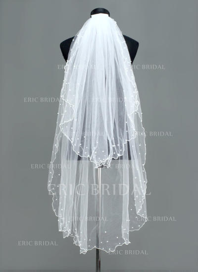 Fingertip Bridal Veils Tulle Two-tier Oval With Scalloped Edge Wedding Veils (006150879)