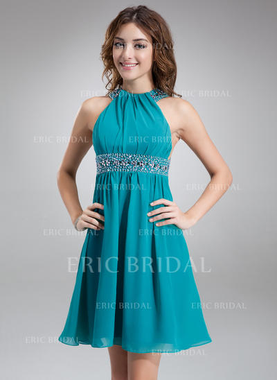 A-Line/Princess Scoop Neck Short/Mini Chiffon Cocktail Dresses With Ruffle Beading (016008542)