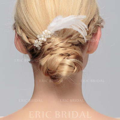 """Combs & Barrettes Wedding/Special Occasion/Party Crystal/Feather 4.13""""(Approx.10.5cm) 1.97""""(Approx.5cm) Headpieces (042156515)"""