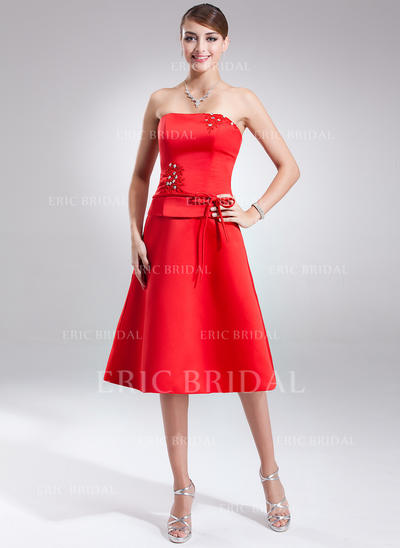 A-Line/Princess Satin Bridesmaid Dresses Sash Beading Bow(s) Strapless Sleeveless Knee-Length (007001570)