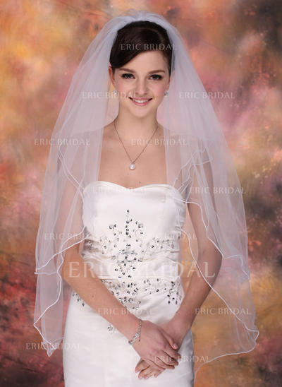 Fingertip Bridal Veils Tulle Two-tier Classic With Pencil Edge Wedding Veils (006150828)