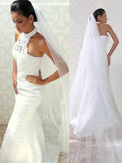 Trumpet/Mermaid Halter Sweep Train Wedding Dresses With Lace Beading (002148019)
