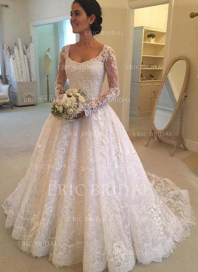 Ball-Gown Lace Long Sleeves Scoop Cathedral Train Wedding Dresses (002147849)