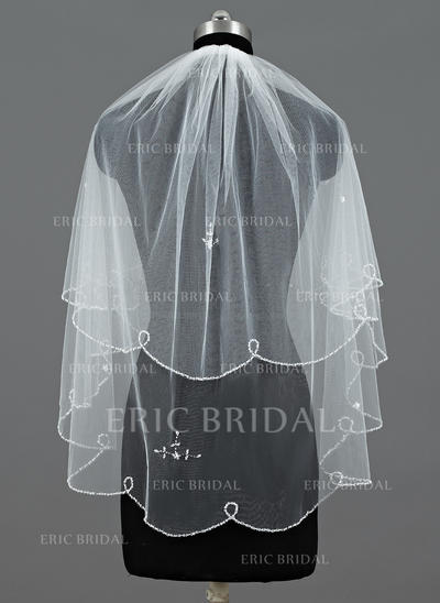 Elbow Bridal Veils Tulle Two-tier Classic With Beaded Edge/Sequin Trim Edge Wedding Veils (006151324)
