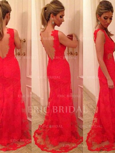 Trumpet/Mermaid Sweep Train Prom Dresses V-neck Lace Sleeveless (018144651)