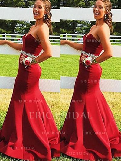 Trumpet/Mermaid Sweetheart Sweep Train Prom Dresses With Beading Sequins (018148449)