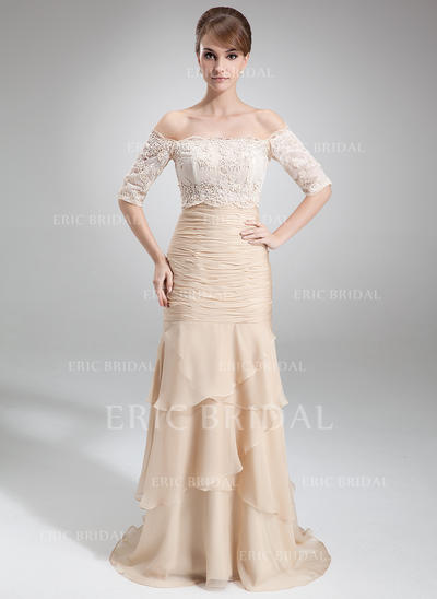 Trumpet/Mermaid Chiffon Sleeveless Strapless Court Train Zipper Up Mother of the Bride Dresses (008006299)