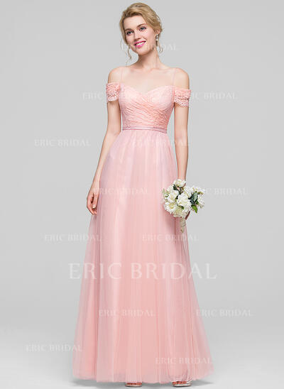 A-Line/Princess Off-the-Shoulder Floor-Length Tulle Bridesmaid Dress With Ruffle (007090201)