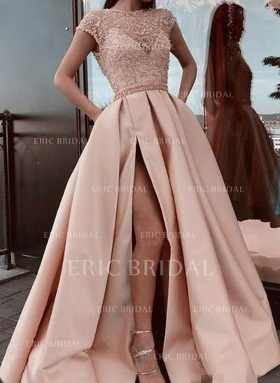 A-Line/Princess Scoop Neck Sweep Train Prom Dresses With Ruffle Lace Split Front (018219374)