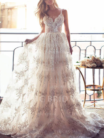 A-Line/Princess Lace Sleeveless V-neck Sweep Train Wedding Dresses (002144923)