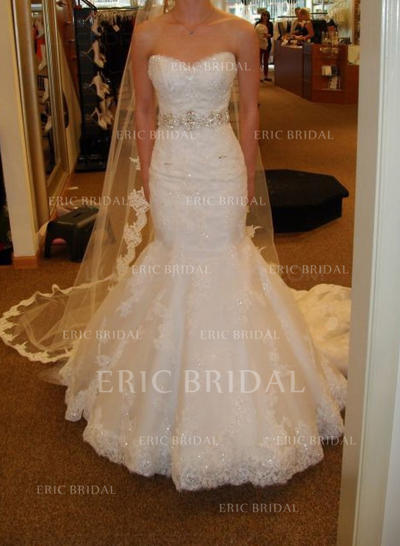 Trumpet/Mermaid Sweetheart Court Train Wedding Dresses With Sash Beading Bow(s) (002147864)
