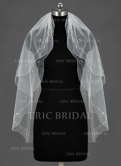 Fingertip Bridal Veils Tulle Two-tier Classic/Oval With Beaded Edge Wedding Veils (006151303)