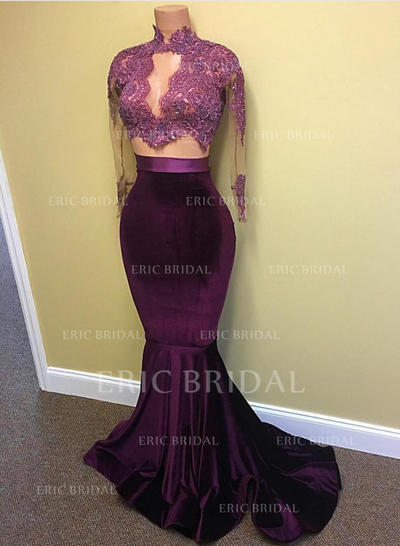 Trumpet/Mermaid High Neck Sweep Train Prom Dresses With Lace Beading Sequins (018148504)