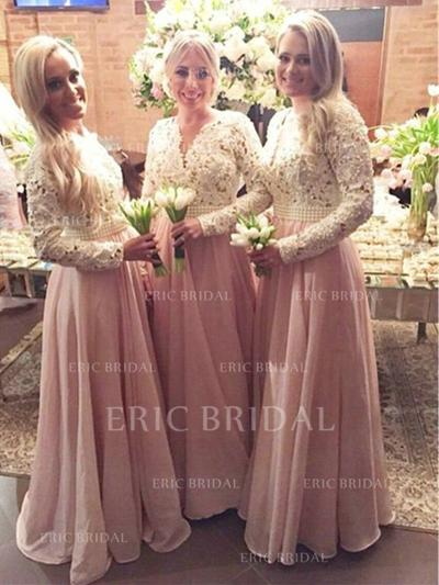 A-Line/Princess Chiffon Lace Bridesmaid Dresses Beading V-neck Long Sleeves Floor-Length (007144995)