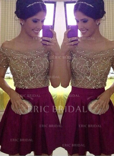 A-Line/Princess Off-the-Shoulder Short/Mini Cocktail Dresses With Beading Sequins (016145327)