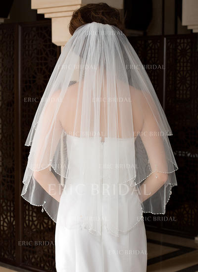 Elbow Bridal Veils Tulle Two-tier Classic With Beaded Edge Wedding Veils (006151482)