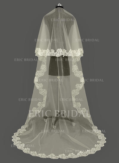 Cathedral Bridal Veils Tulle One-tier Oval/Drop Veil With Lace Applique Edge Wedding Veils (006151667)