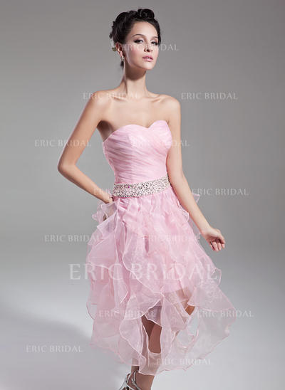 A-Line/Princess Sweetheart Tea-Length Cocktail Dresses With Beading Sequins Cascading Ruffles (016015121)