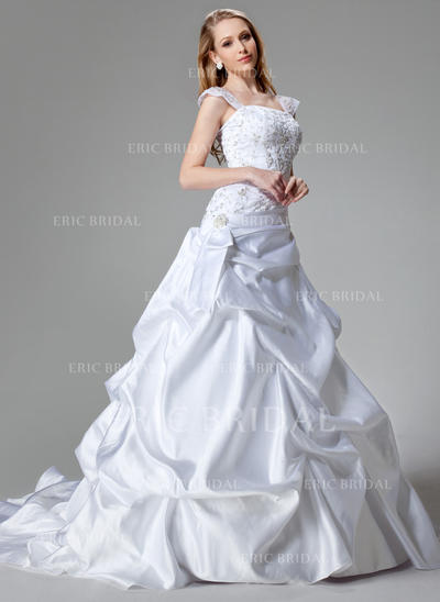A-Line/Princess Strapless Chapel Train Wedding Dresses With Sequins (002000436)