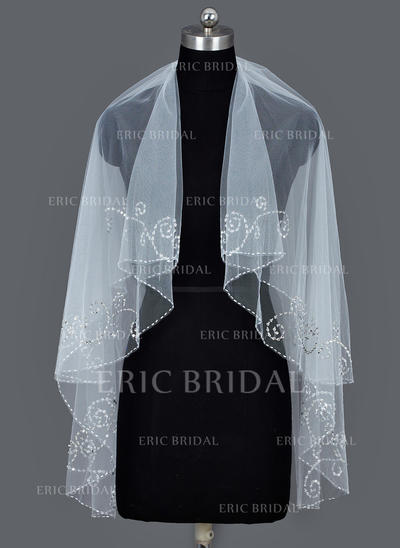 Fingertip Bridal Veils Tulle Two-tier Classic With Beaded Edge Wedding Veils (006151368)