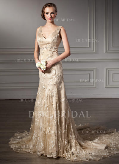 Trumpet/Mermaid Halter Chapel Train Wedding Dresses With Beading (002000116)