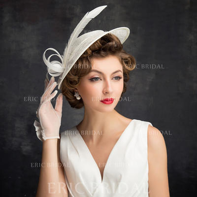 Feather/Tulle/Linen With Feather Fascinators Classic Ladies' Hats (196194254)