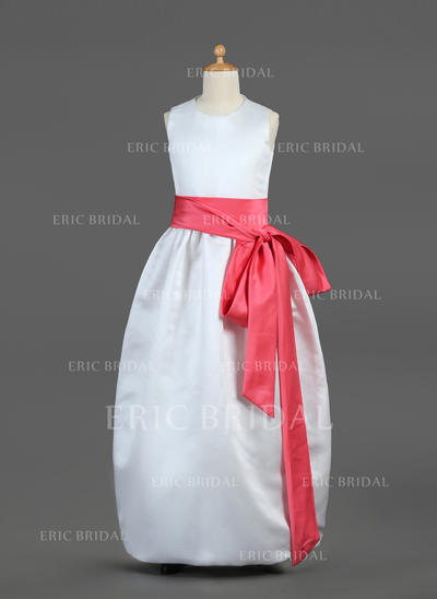 Beautiful Scoop Neck Ball Gown Flower Girl Dresses Floor-length Satin Sleeveless (010002144)