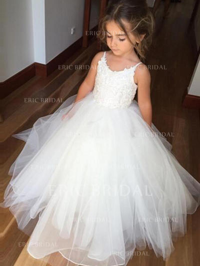 Gorgeous Scoop Neck Ball Gown Flower Girl Dresses Floor-length Tulle/Lace Sleeveless (010145213)