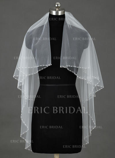 Fingertip Bridal Veils Tulle Two-tier Classic With Cut Edge Wedding Veils (006151331)