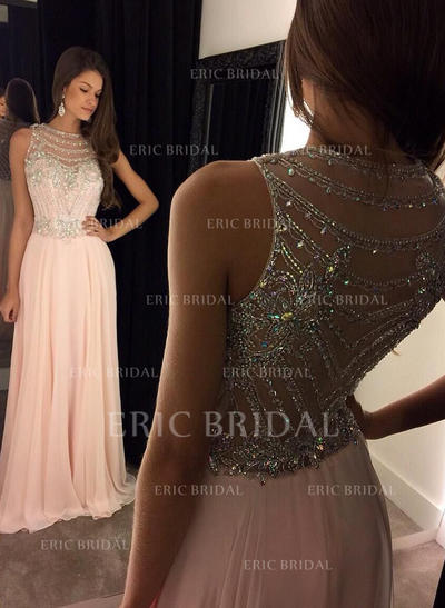 A-Line/Princess Scoop Neck Floor-Length Prom Dresses With Beading Sequins (018144649)