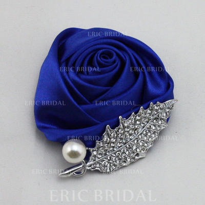 Boutonniere/Men's Accessories Round Wedding Satin The color of embellishments are shown as picture/Color & Style representation may vary by monitor Wedding Flowers (123189129)