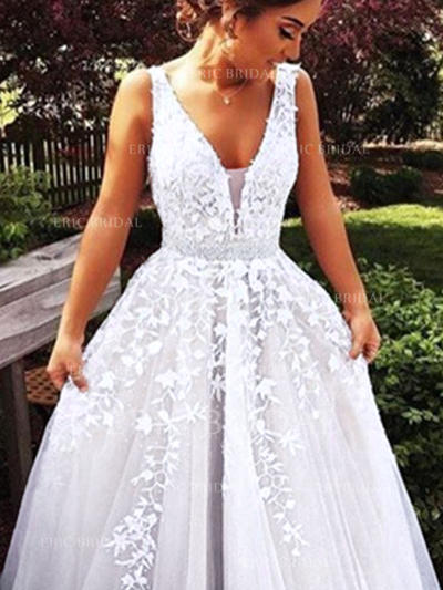 Ball-Gown V-neck Sweep Train Wedding Dresses With Beading Appliques Lace (002145437)