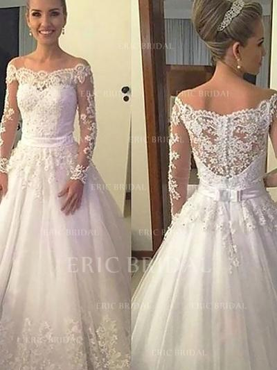 Beautiful Off-The-Shoulder Ball-Gown Wedding Dresses Court Train Tulle Long Sleeves (002148008)