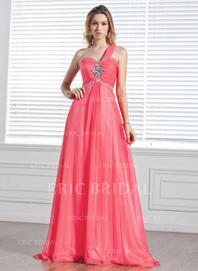 A-Line/Princess Sweep Train Prom Dresses One-Shoulder Chiffon Sleeveless (018004848)