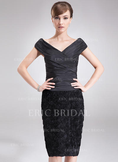 Sheath/Column Taffeta Lace Sleeveless Off-the-Shoulder Knee-Length Zipper Up Mother of the Bride Dresses (008006089)