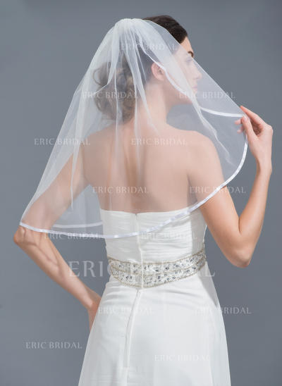 Elbow Bridal Veils Tulle One-tier Classic With Ribbon Edge Wedding Veils (006152228)
