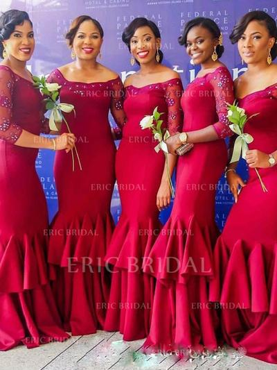 Trumpet/Mermaid Satin Lace Bridesmaid Dresses Beading Cascading Ruffles Off-the-Shoulder 3/4 Sleeves Floor-Length (007145016)