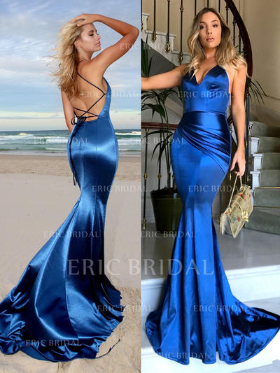Trumpet/Mermaid V-neck Court Train Charmeuse Prom Dresses With Ruffle (018217258)