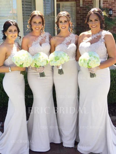 Trumpet/Mermaid Lace Jersey Bridesmaid Dresses One-Shoulder Sleeveless Sweep Train (007145095)